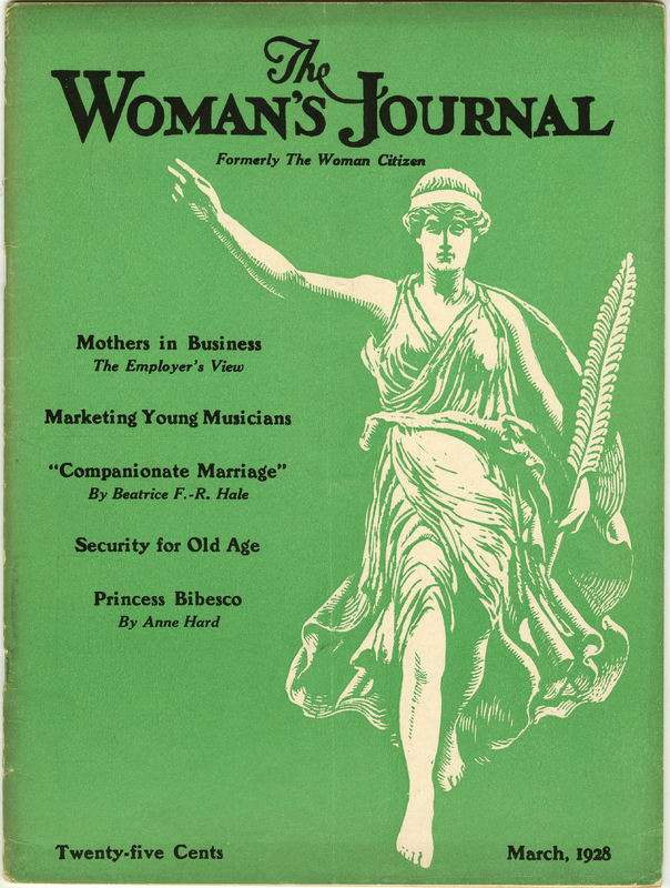 Cover of The Woman's Journal in green with black text and drawing of a woman in robes, carrying a long leaf with her arm outstretched