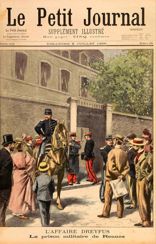 After a lull in press coverage, Dreyfus re-entered the news in 1899. By then, his authorship of the bordereau had been undermined by mounting evidence against Esterhazy, and Dreyfus was permitted to return to France for retrial. In this image, Dreyfus enters the military prison in Rennes as curious bystanders look on. Though he was stripped of military rank, he salutes as he enters into a new imprisonment.<br /> <br /> Dreyfus's trial at Rennes ended, once more, in his conviction, though several days later, he accepted a presidential pardon. He and his supporters advocated for a review of the Rennes verdict and a complete annulment of the charges against him. In 1904, the Criminal Chamber agreed to their pleas, and in 1906, Dreyfus's name was cleared. Nevertheless, French anti-Semitism raged on: in 1908, Dreyfus was shot and wounded by a journalist, Louis Gregori, at a public ceremony where Zola's ashes were placed in the Pantheon.