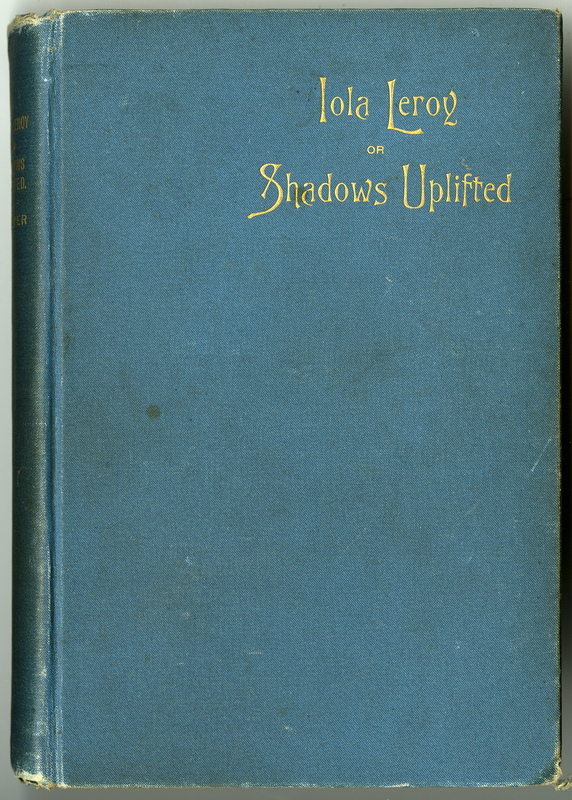 Worn, light blue book cover with title in gold inlay in upper right hand corner