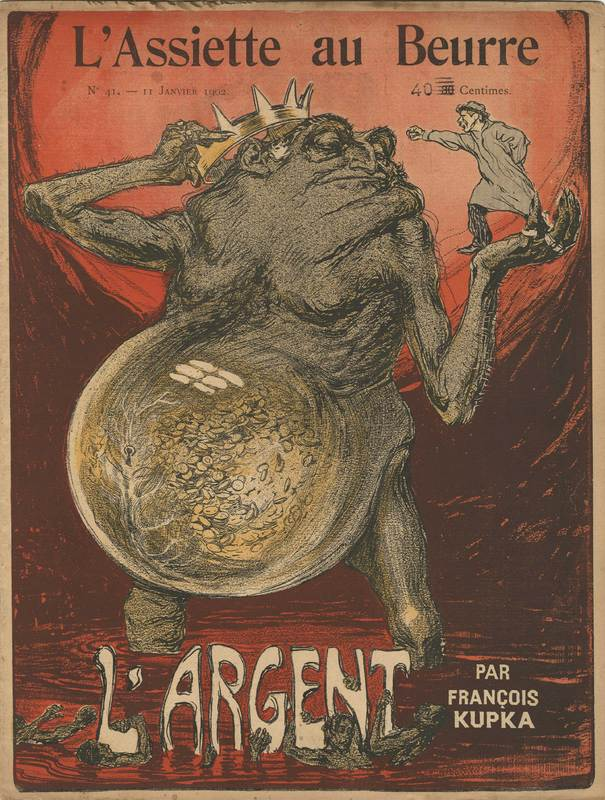 Front cover of the 'L'Argent' issue, from L'Assiette au beurre (1902) by Frantisek Kupka