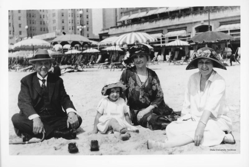 Ben Duke, Sarah Duke, Mary Duke Biddle, and Mary Duke Biddle Jr. (later Mary Duke Biddle Trent Semans) on the beach in Atlantic City in the 1920s.