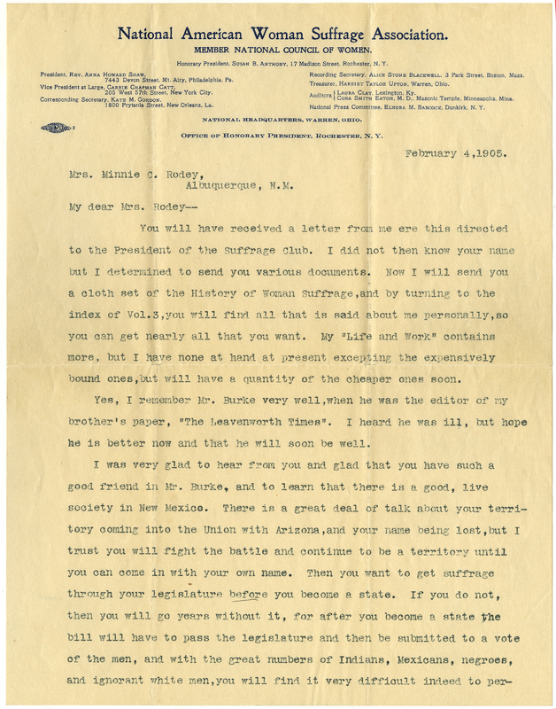 First page of typed letter in black ink with blue letter head of National American Woman Suffrage Association