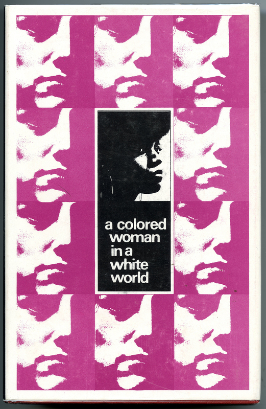 Book cover with a high contrast black and white photograph of a Black woman in the center, surrounded by ten, repeated high contrast photographs of a white woman in pink
