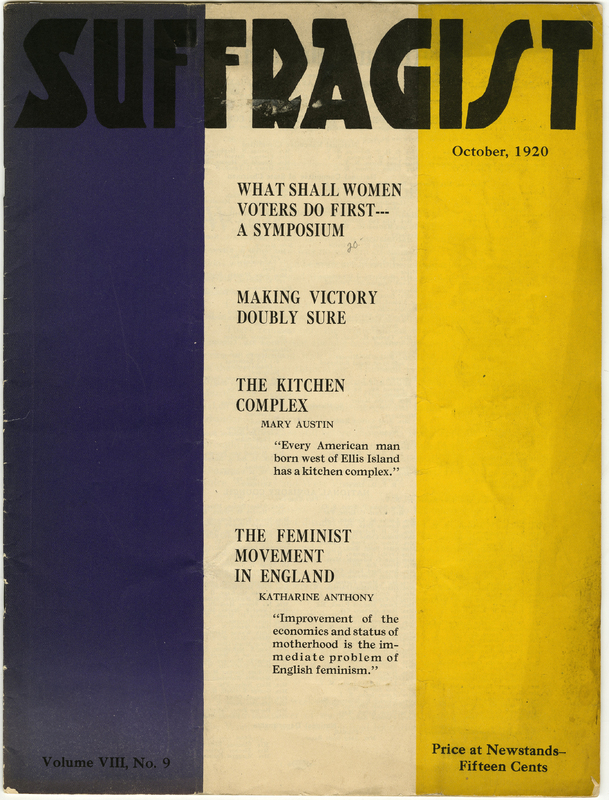"Cover of magazine, title ""Suffragist"" in bold black ink with thick vertical stripes in the background in purple, white, and yellow"