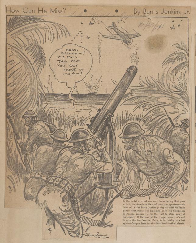 """How Can He Miss?"" Cartoon, Los Angeles Herald & Express, December 30, 1941"
