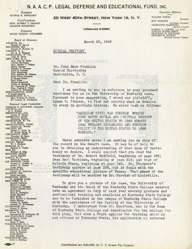 NAACP, Sweatt v. Painter Case, 1949 (1)