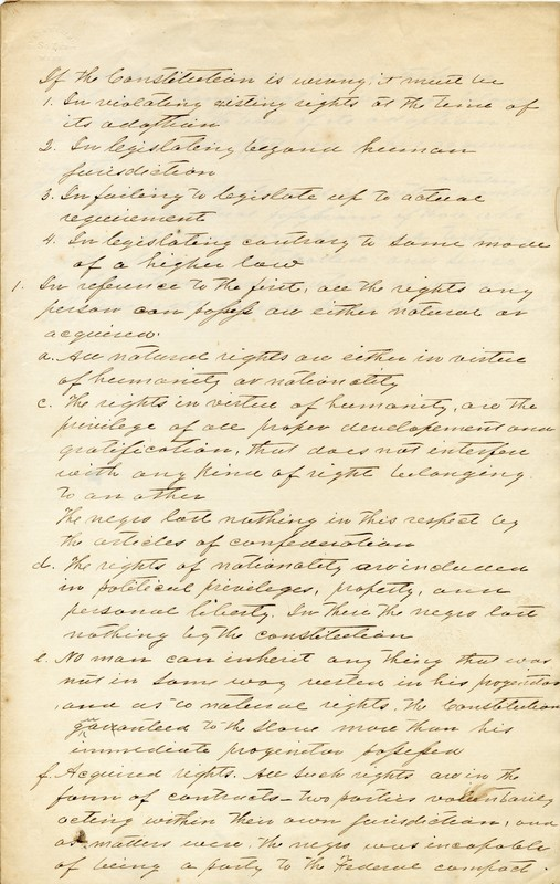Notes from a constitutional law lecture on slavery in America given by Trinity College president Braxton Craven.
