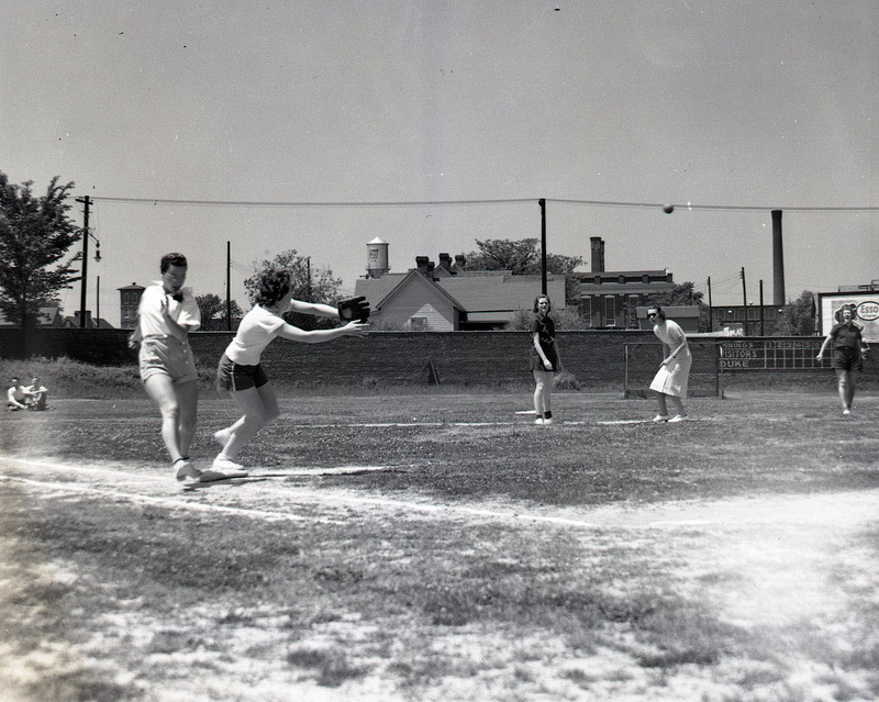 Women at Duke play baseball on May 6, 1939.  They are playing on what is currently the field hockey field on East Campus (then known as the Woman's College campus).  The women's baseball team was sponsored by the Women's Athletic Association.