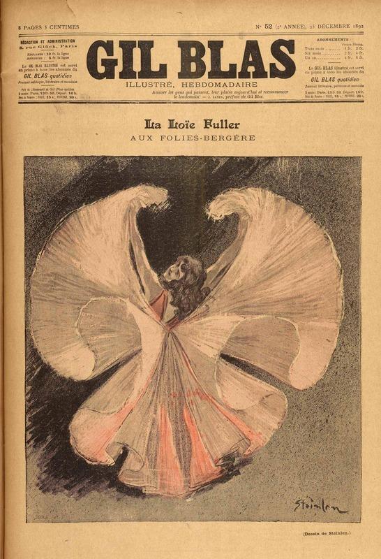 Cover of Gil Blas, December 25, 1892. Image by Theo Steinlen of Loie Fuller dancing.