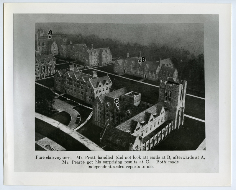"Buildings on a college campus. The caption reads, ""Pure clairvoyance. Mr. Pratt handled (did not look at) cards at B, afterwards at A, Mr. Pearce got his surprising results at C. Both made independent sealed reports to me."""