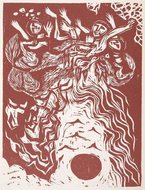 The destruction of Jerusalem as foreseen by the prophet JeremiahWoodcuts by Nikos Stavroulakis