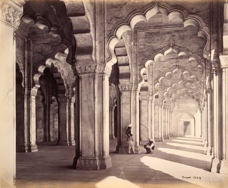 Agra; Interior of the Motee Musjid, showing the marble Saracenic arches and pillars