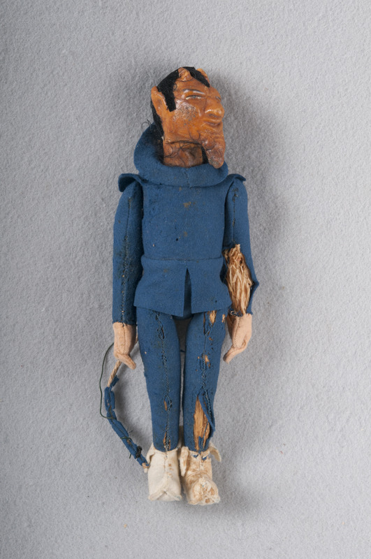 Handmade doll modeled after Duke's mascot, the Blue Devil.