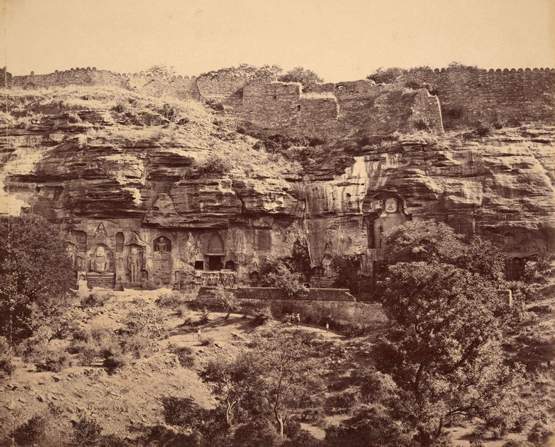 Gwalior; The Happy Valley, Bhuddist (sic) Figures cut in the rock<br />