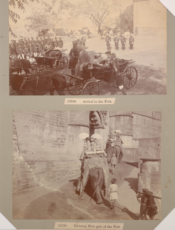 Arrival at fort, entering main gate at fort [mounted on single album page] <br />