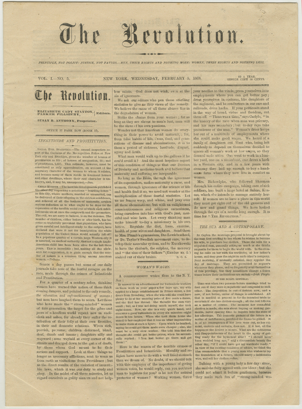Front page of The Revolution newspaper on yellowed paper in black ink, title in gothic font