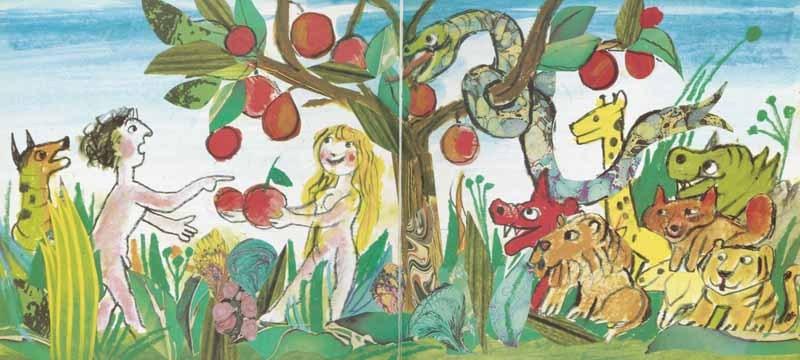 Adam and Eve in the Garden of EdenIllustrated by Emanuele Luzzati