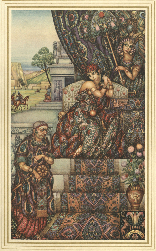 Colorful and detailed illustration of two women and a man depicting a story from The Book of Esther from the Bible