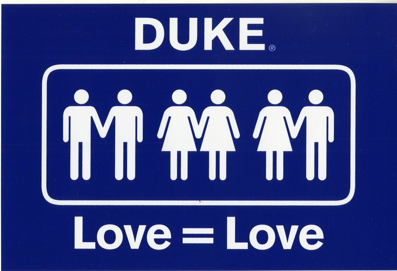 """A bumper sticker featuring Duke's """"Love = Love"""" logo in support of LGBT students."""