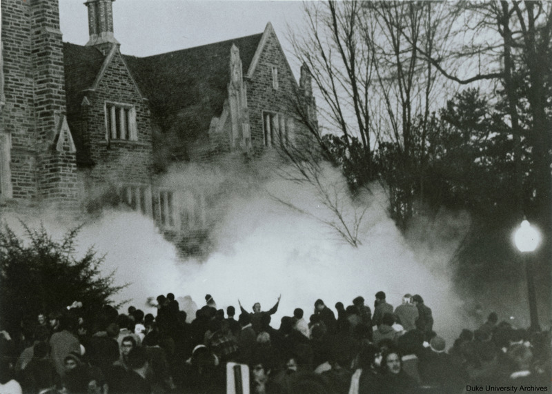 The crowd outside the Allen Building on February 13, 1969, when police launched tear gas into the crowd in an attempt to disperse protesters.