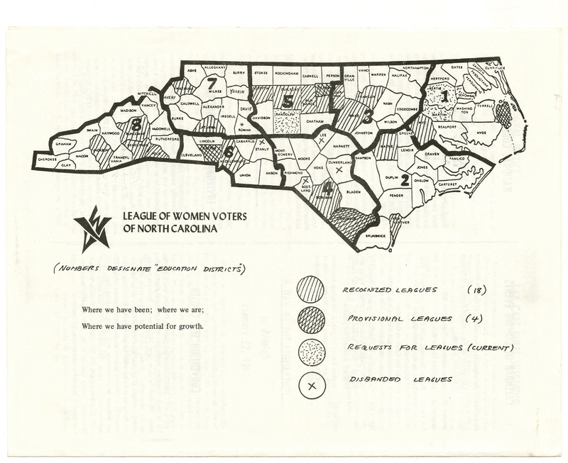 Hand-drawn map in black of North Carolina divided into education districts and counties to illustrate where League of Women Voter chapters are active