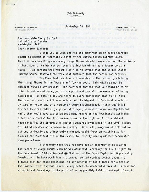 Letter to Sen. Terry Sanford regarding Clarence Thomas' confirmation hearing, 1991