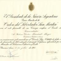 Orden del Libertador San Martin, July 13, 1984