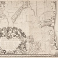 """Section 12 of """"A plan of the cities of London and Westminster, and borough of Southwark, with the contiguous buildings"""" by John Rocque, 1746-1749."""