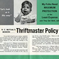 Sales promotional pamphlet for the Thriftmaster Policy, 1940s