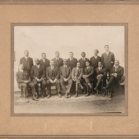 First row, left to right: John L. Wheeler, W. H. Harvey, unidentified, Arthur E. Spears, George W. Cox, William D. Hill, W. J. Kennedy, Jr., and John M. Avery. <br /><br /> <br /><br /> Second row, left to right: unidentified, unidentified, unidentified, Charles F. Fearing, unidentified, unidentified, and D. C. Deans, Jr.