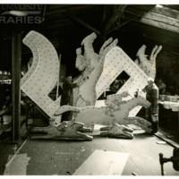 Sign under construction at Atlantic City Shop. [Seagram&#039;s spectacular], June 26, 1938.<br /> Maxwell No. 5093<br /> ROAD No. XXX4230