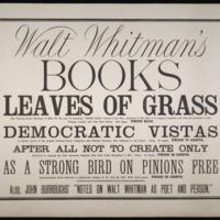 """Walt Whitman. """"Walt Whitman&#039;s books…&quot; 1872? Broadside,  <br /><br />"""