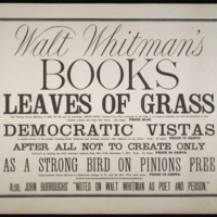 "Walt Whitman. ""Walt Whitman&amp;#039;s books…&amp;quot; 1872? Broadside,  &lt;br /&gt;<br />"