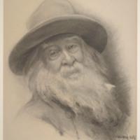 "T. Johnson, ""Etching of Walt Whitman,"" 1891. Walt Whitman Papers, Box 15."