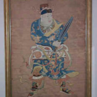 &quot;Wei To, Temple Guardian, Ming Period, 17th Century, 52&quot;&quot; x 58&quot;&quot; (including frame), Embroidery on Silk<br />