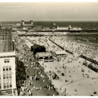 Steel Pier, view from roof of Knickerbocker Hotel. [Beach and Boardwalk scene], July 4, 1936.<br />