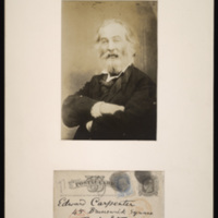 "Matthew Brady. ""Walt Whitman Portrait,"" 1869. Photograph reproduction. Walt Whitman Papers, Box 15.<br /><br />"