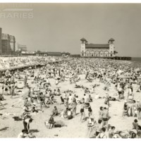 Garden Pier. [Beach scene with Tobacco Road sign in background], July 4, 1937.<br />