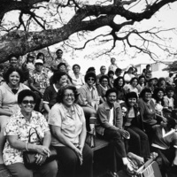 Fans at Puerto Rican softball league tournament, Honolulu, HI 1981