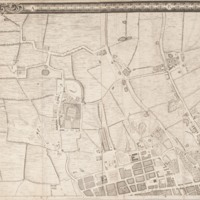 """Section 1 of """"A plan of the cities of London and Westminster, and borough of Southwark, with the contiguous buildings"""" by John Rocque, 1746-1749."""
