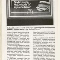 """McDonalds advertisement."" Minority Marketing. Chicago: Crain, 1980. Print."