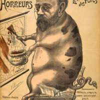 """Dreyfus defender Émile Zola is shown as king of the pigs, a reference to Kosher prohibitions against pork. Lenepveu attempts scatological humor, casting Zola's """"oeuvre"""" and his defense of Jews as """"caca international"""" (international excrement) sullying the French map."""