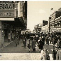 Boardwalk. [Steel Pier marquee], Easter, April 9, 1939.<br />
