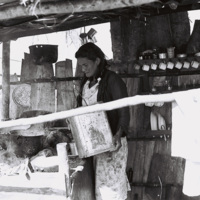 Making coffee in the kitchen of a bohío (thatched hut) in the Sierra Maestra Mountains, Granma Province, December 1963