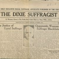 Yellowed and worn cover of a newspaper with typed black ink and a photograph of an older woman in the center