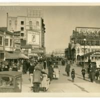 Boardwalk. [Van Raalte Silk Gloves billboard, Lucky Strike spectacular], Easter, April 1, 1923.<br /> Maxwell No. 2032<br /> ROAD No. XXX1172