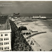 Hotel Knickerbocker roof. [Boardwalk and beach aerial view], Easter, April 9, 1939.<br />