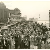 Boardwalk and Indiana Ave. [Easter crowd and Camel billboard], Easter, April 12, 1936.<br />