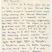 Letter, Reynolds Price papers, David M. Rubenstein Rare Book & Manuscript Library.