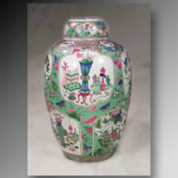 &quot;Porcelain Urns<br /> The James A. Thomas Collection<br /> 1&#039;-8&quot;&quot; high, 7.5&quot;&quot; base, 12&quot;&quot; at the widest point (one urn has been reconstructed)<br /> <br /> On the mantel of the south fireplace are a pair of urns, decorated with medallions against a background of flowers and butterflies in bright shades of green, blue, and salmon pink, on white porcelain. Represented in the medallions are a number of Chinese motifs. One shows a peony blooming, an omen of success and spring, with a bird seated on a branch; another shows artist&#039;s tools; and a third medallion shows symbols of a scholar&#039;s life. The vases probably date from the eighteenth century, from the mid-Qing Dynasty (1644-1911). These urns may have been used for wine or food storage.&quot;